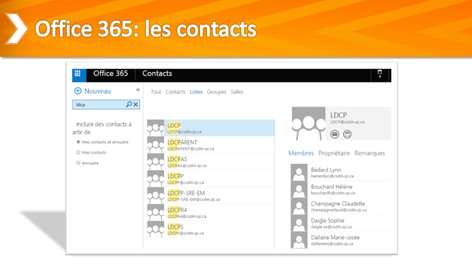 Office 365 Les Contacts Tutoriels